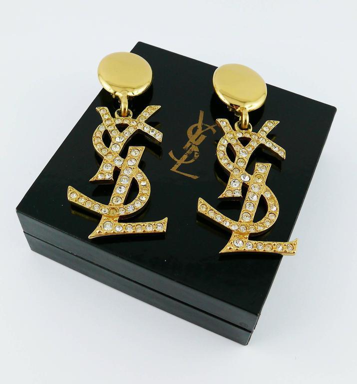 Women's Yves Saint Laurent YSL Vintage Rare Massive Diamante Logo Dangling Earrings For Sale