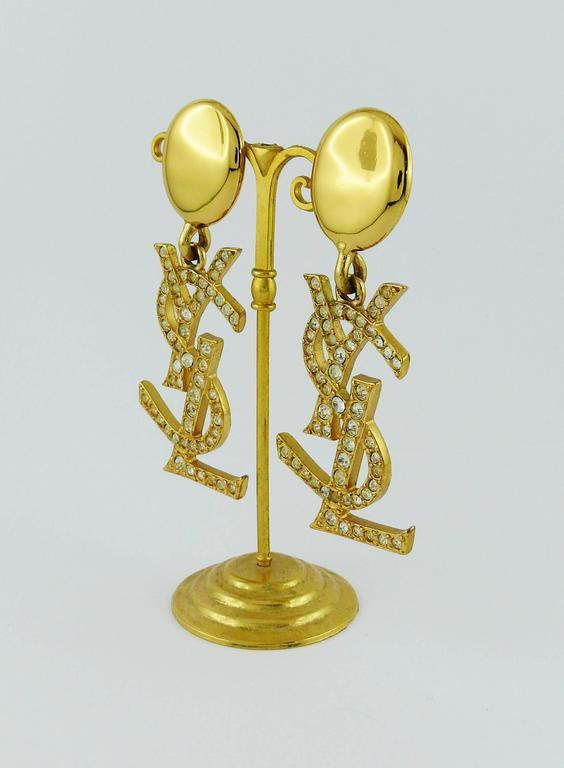 Yves Saint Laurent YSL Vintage Rare Massive Diamante Logo Dangling Earrings 5