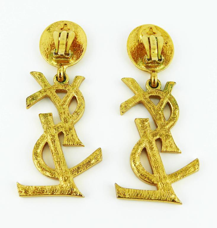 Yves Saint Laurent YSL Vintage Rare Massive Diamante Logo Dangling Earrings For Sale 2
