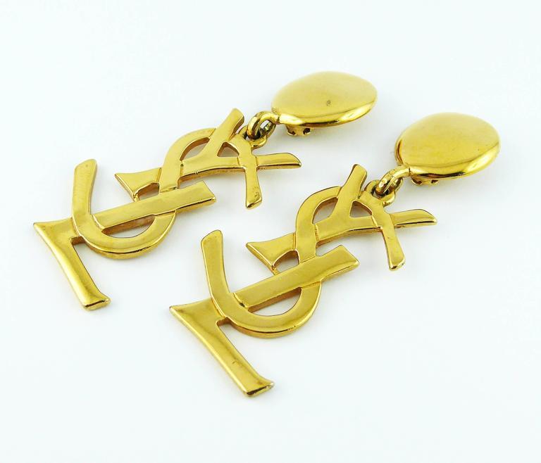 Women's Yves Saint Laurent YSL Vintage Rare Massive Iconic Logo Dangling Earrings For Sale