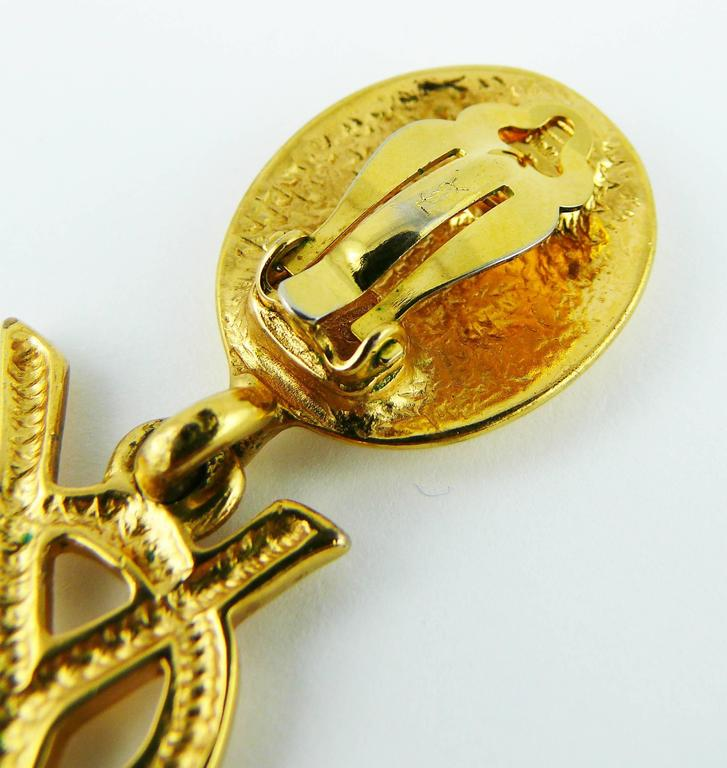 Yves Saint Laurent YSL Vintage Rare Massive Iconic Logo Dangling Earrings 6
