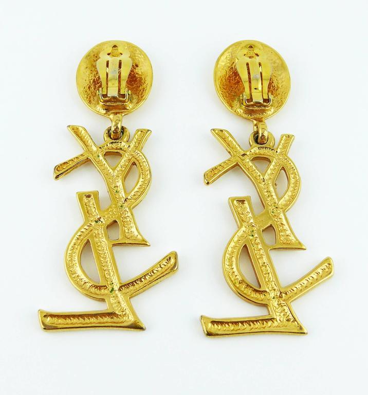 Yves Saint Laurent YSL Vintage Rare Massive Iconic Logo Dangling Earrings 5