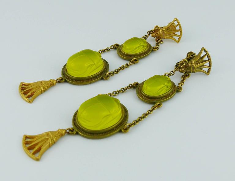 Christian Dior by John Galliano Egyptian Revival Scarab Dangle Earrings 4