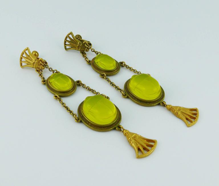 Christian Dior by John Galliano Egyptian Revival Scarab Dangle Earrings 2