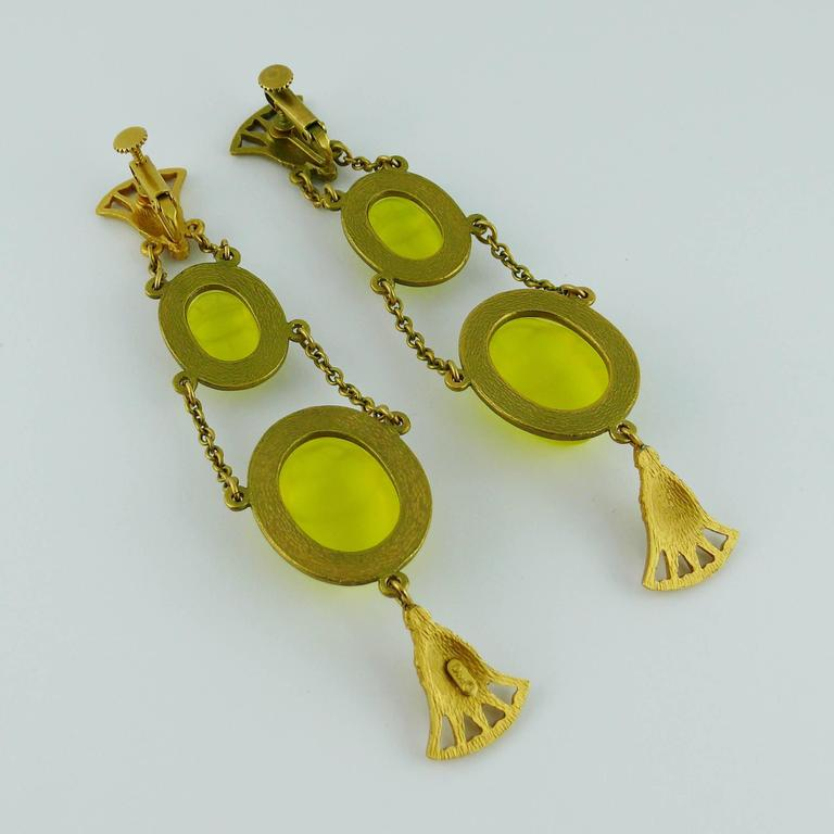 Christian Dior by John Galliano Egyptian Revival Scarab Dangle Earrings 7