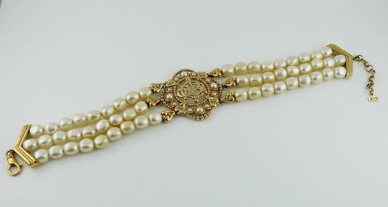Christian Dior Vintage Pearl Logo Choker Necklace 2