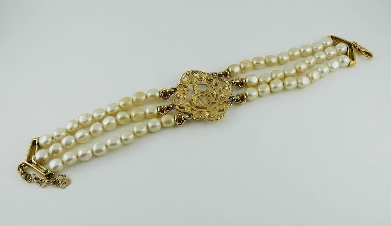 Christian Dior Vintage Pearl Logo Choker Necklace 9