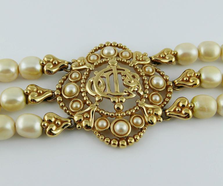 Christian Dior Vintage Pearl Logo Choker Necklace 4