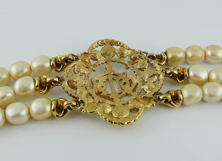 Christian Dior Vintage Pearl Logo Choker Necklace 8