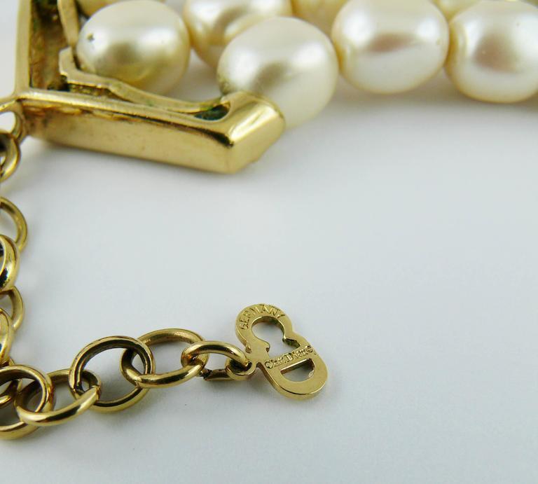 Christian Dior Vintage Pearl Logo Choker Necklace 10