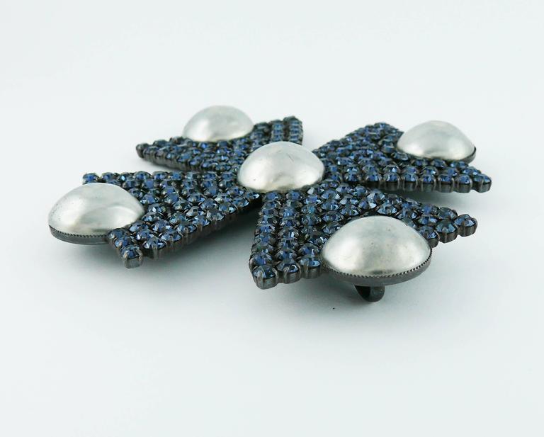 Yves Saint Laurent YSL Massive Bejeweled Maltese Cross Brooch Pendant For Sale 2