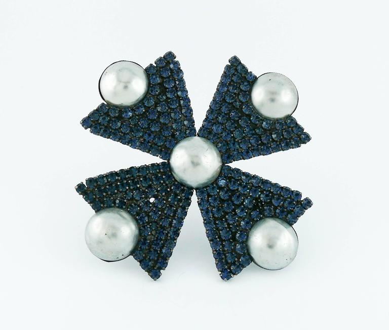 Yves Saint Laurent YSL Massive Bejeweled Maltese Cross Brooch Pendant For Sale 1