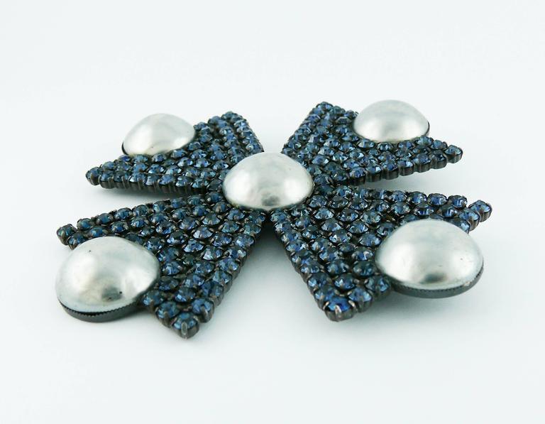 Women's Yves Saint Laurent YSL Massive Bejeweled Maltese Cross Brooch Pendant For Sale