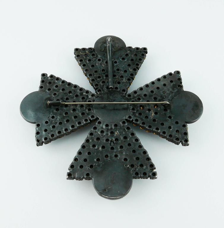 Yves Saint Laurent YSL Massive Bejeweled Maltese Cross Brooch Pendant For Sale 3