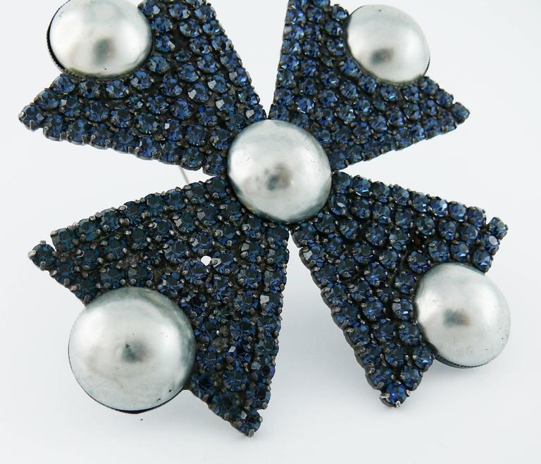 Yves Saint Laurent YSL Massive Bejeweled Maltese Cross Brooch Pendant For Sale 5