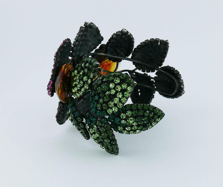 Yves Saint Laurent YSL Attributed Vintage Couture Bejeweled Floral Cuff Bracelet 8