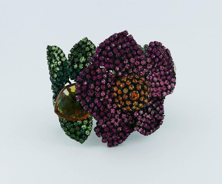 Yves Saint Laurent YSL Attributed Vintage Couture Bejeweled Floral Cuff Bracelet 2