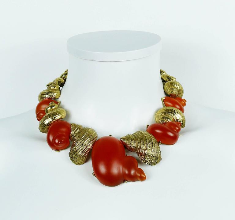 Christian Dior by Robert Goossens Vintage Rare Shell Necklace Dune 1987 4