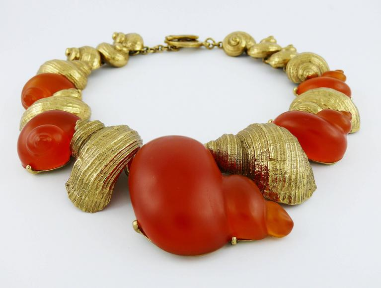 Christian Dior by Robert Goossens Vintage Rare Shell Necklace Dune 1987 5