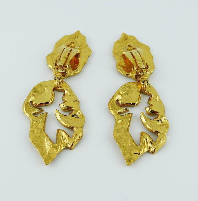 Yves Saint Laurent YSL Vintage Abstract Palladio Dangling Earrings For Sale 5