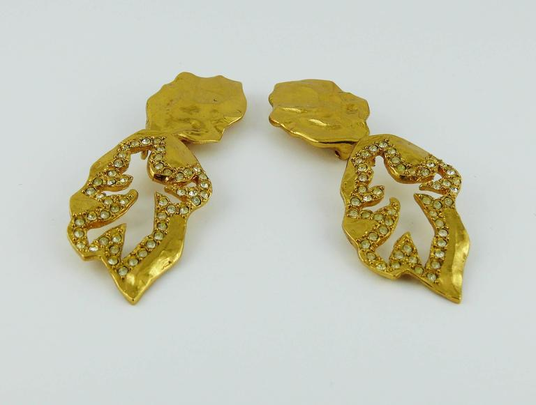 Yves Saint Laurent YSL Vintage Abstract Palladio Dangling Earrings For Sale 4