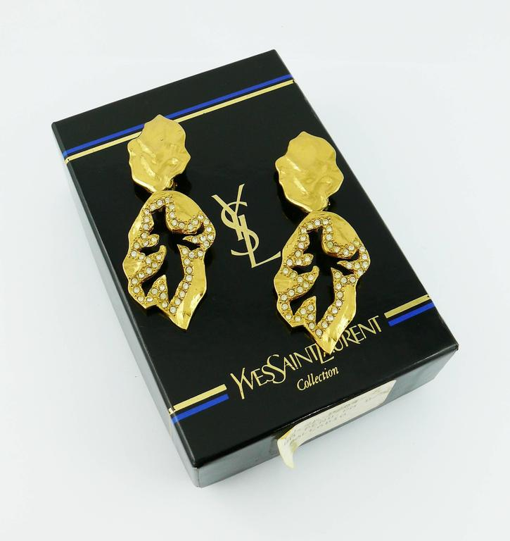 Yves Saint Laurent YSL Vintage Abstract Palladio Dangling Earrings For Sale 2