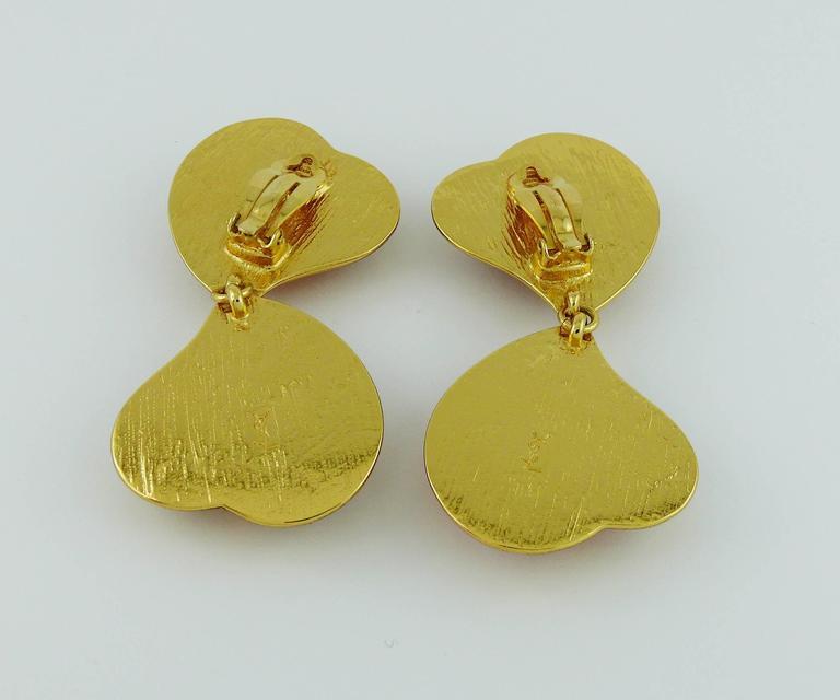 Yves Saint Laurent YSL Vintage Double Heart Dangling Earrings For Sale 3