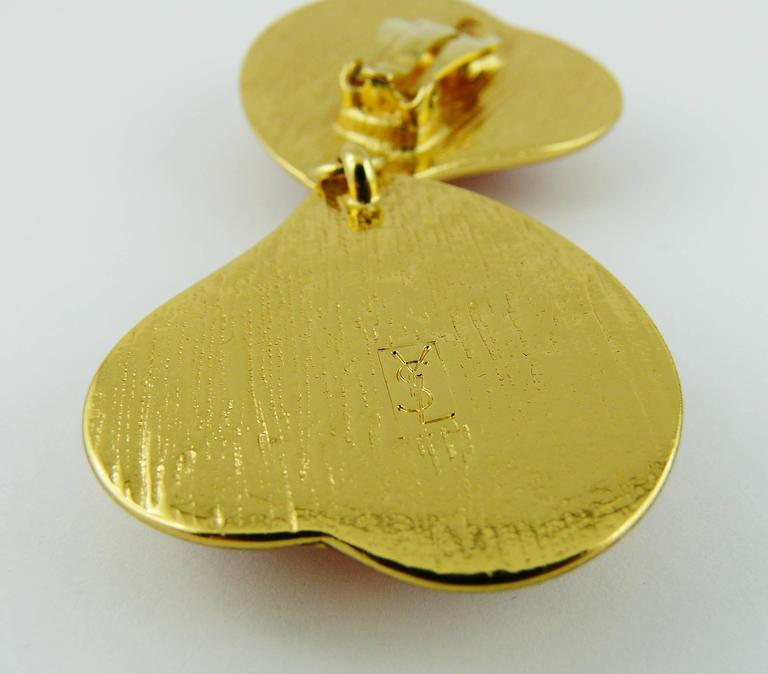Yves Saint Laurent YSL Vintage Double Heart Dangling Earrings For Sale 4