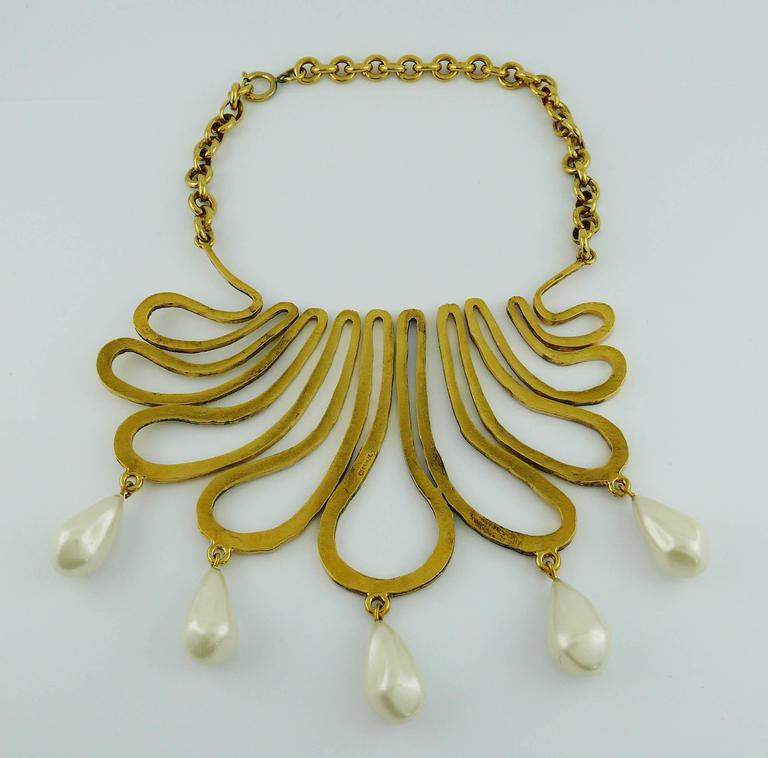 Chanel Vintage 1990s Gorgeous Gold Toned Arabesque Bib Necklace For Sale 4