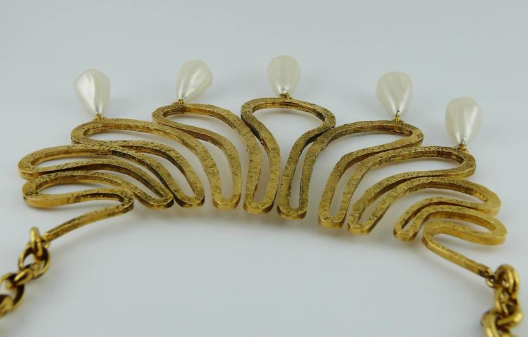 Chanel Vintage 1990s Gorgeous Gold Toned Arabesque Bib Necklace For Sale 2