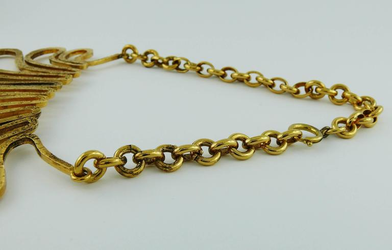 Chanel Vintage 1990s Gorgeous Gold Toned Arabesque Bib Necklace For Sale 3