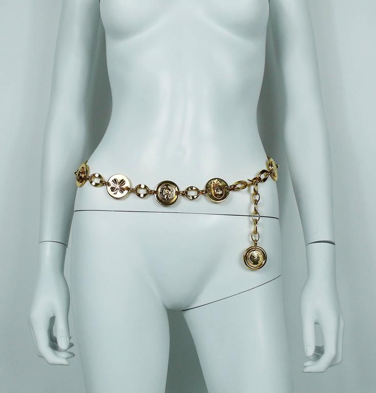 Chanel Vintage Ladybug, Mademoiselle Profile and Clover Gold Toned Coin Belt 4