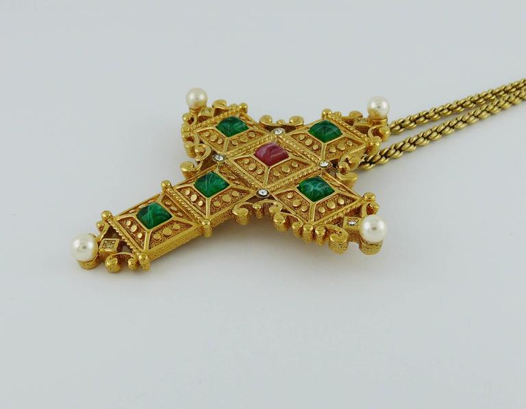 Christian Dior Vintage Bejeweled Cross Pendant Necklace Brooch 4