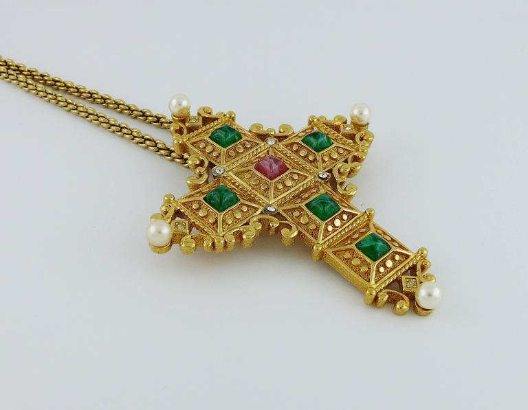 Christian Dior Vintage Bejeweled Cross Pendant Necklace Brooch 2