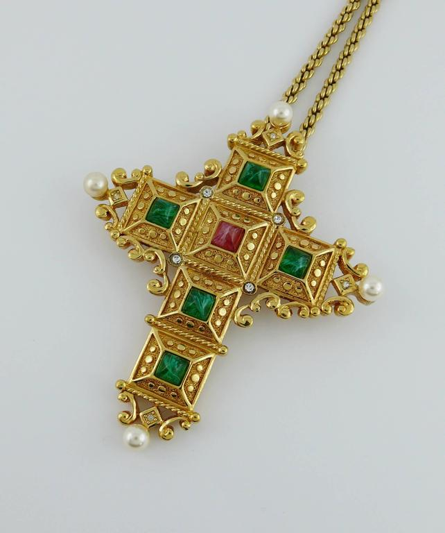 Christian Dior Vintage Bejeweled Cross Pendant Necklace Brooch 3