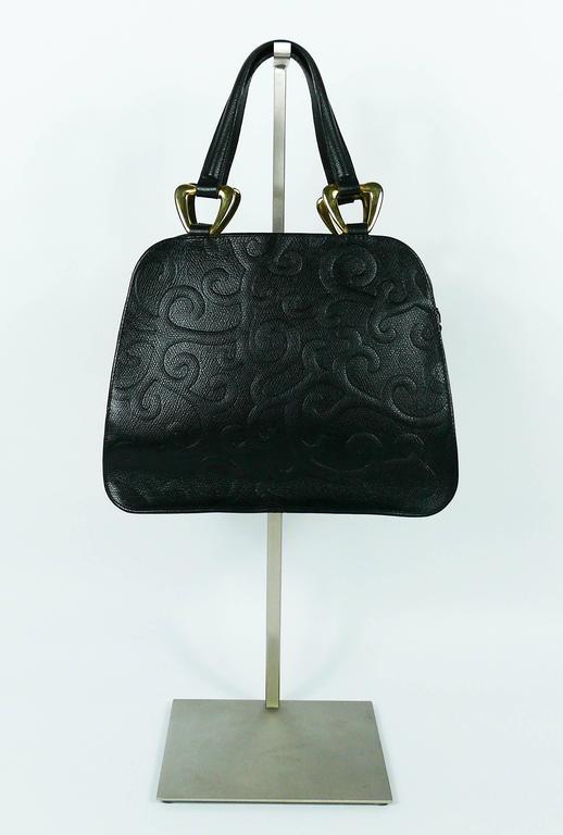 Yves Saint Laurent YSL Vintage Black Leather Arabesque Handbag For Sale 2