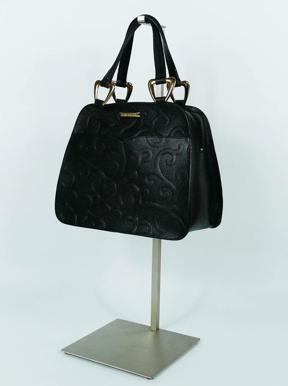 Yves Saint Laurent YSL Vintage Black Leather Arabesque Handbag For Sale 1