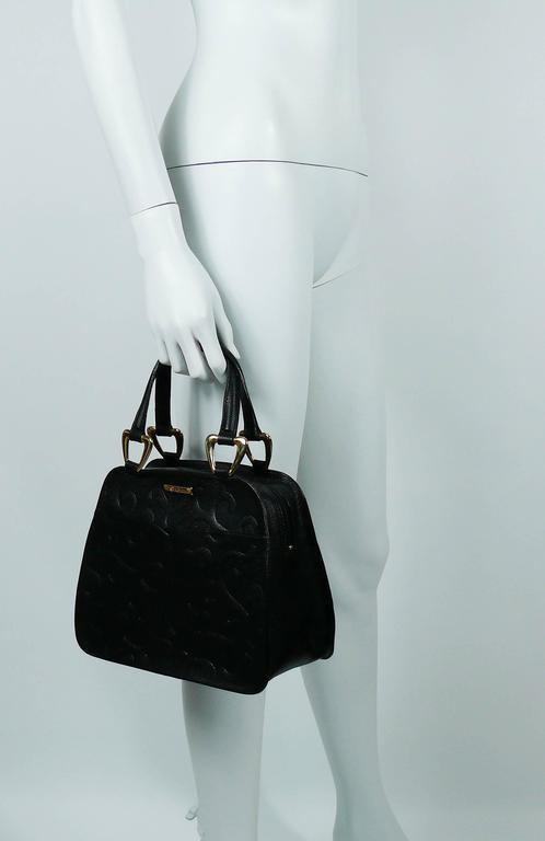 Women's Yves Saint Laurent YSL Vintage Black Leather Arabesque Handbag For Sale