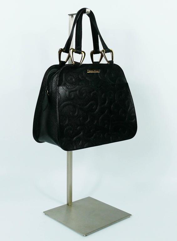 Yves Saint Laurent YSL Vintage Black Leather Arabesque Handbag In Excellent Condition For Sale In Nice, FR
