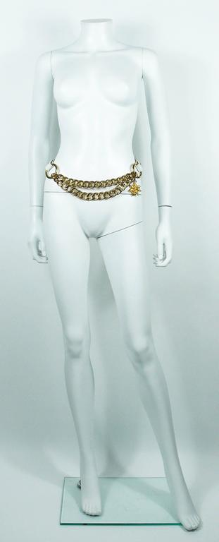 Yves Saint Laurent Vintage White Leather and Chain Belt 2