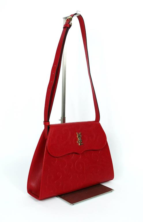 1fadb603341 Yves Saint Laurent YSL Vintage Red Leather Arabesque 2-Way Shoulder Bag In  Good Condition
