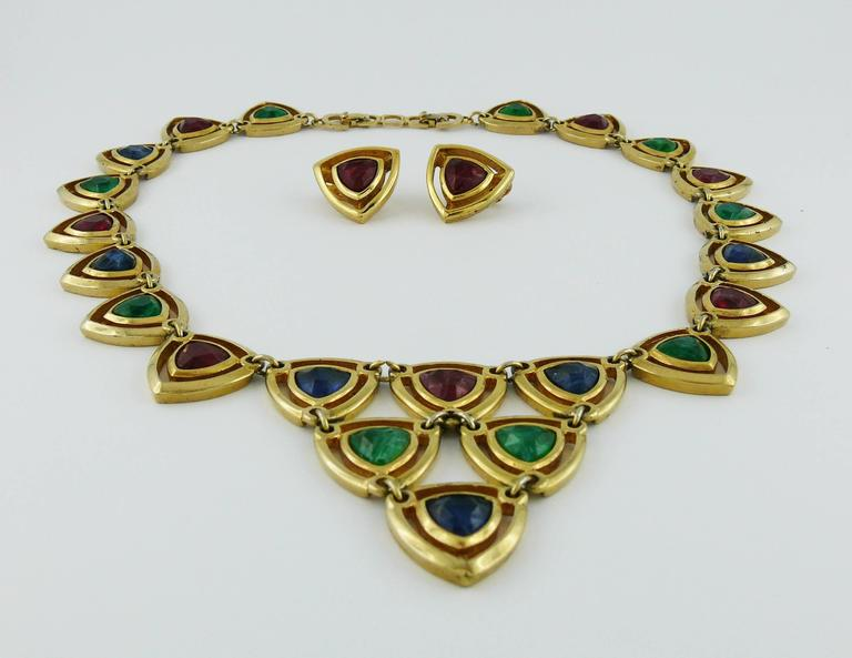 Christian Dior Vintage Gold Toned Faux Ruby Emerald and Sapphire Set In Good Condition For Sale In French Riviera, Cote d'Azur