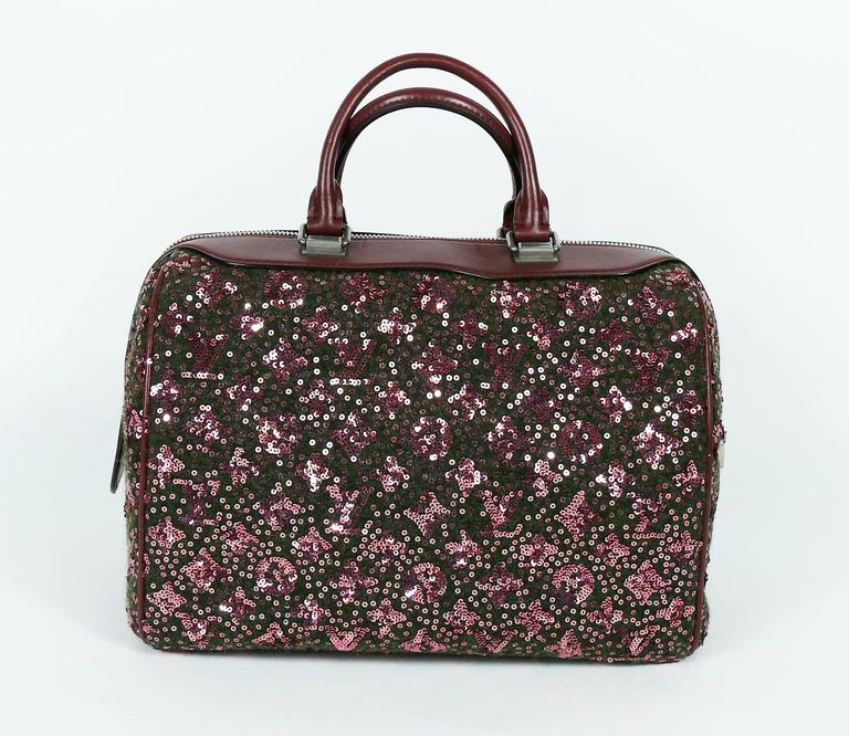 Louis Vuitton Speedy Sunshine Express Burgundy Sequin Monogram Limited Edition For Sale 2