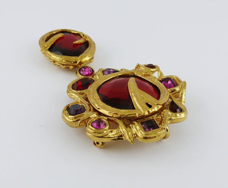 Yves Saint Laurent YSL Vintage Massive Jewelled Brooch Pendant In Excellent Condition For Sale In Nice, FR