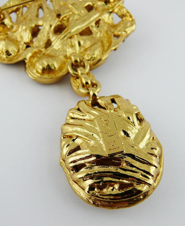 Yves Saint Laurent YSL Vintage Massive Jewelled Brooch Pendant For Sale 2