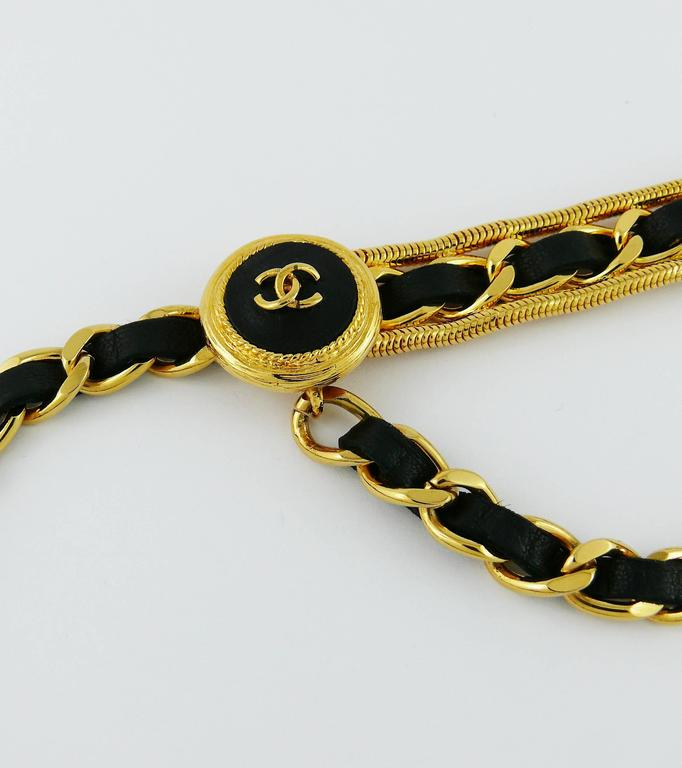 Chanel Vintage Rare Black Leather Chain Link Belt 5