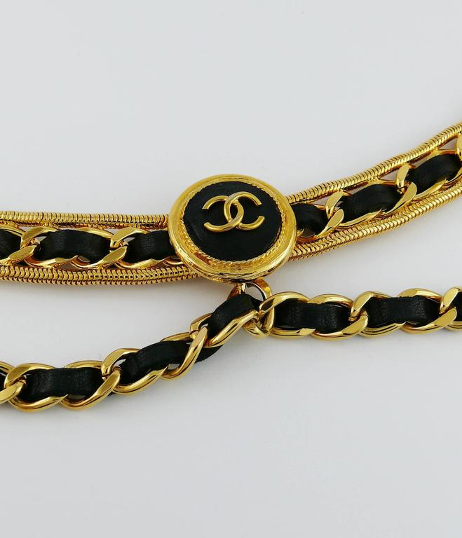 Chanel Vintage Rare Black Leather Chain Link Belt 3