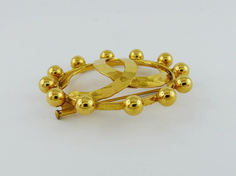 Chanel Vintage 1990 Massive Gold Toned CC Brooch 3