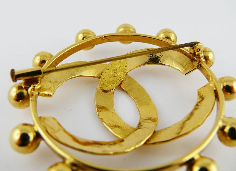 Chanel Vintage 1990 Massive Gold Toned CC Brooch 6