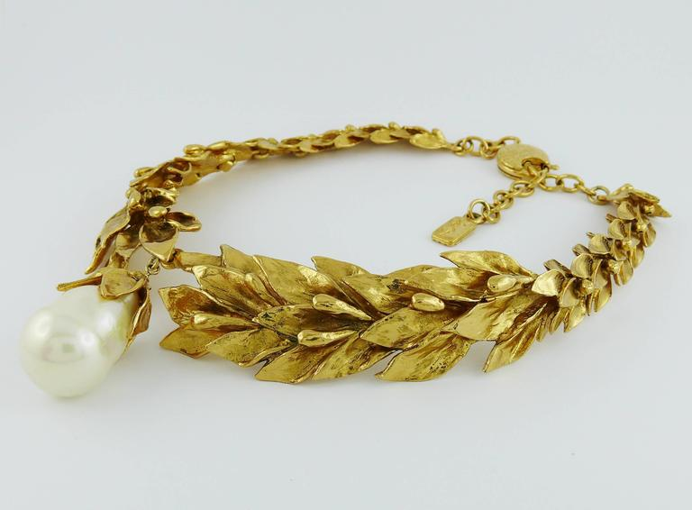 Yves Saint Laurent YSL Vintage Gold Toned Necklace 5